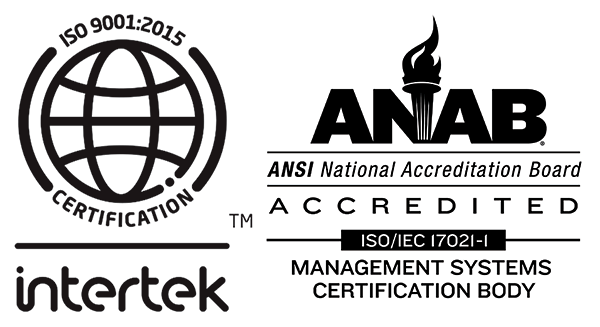 Left, Intertek ISO9001:2015 Certification logo. RIght, ANAB (ANSI National Accreditation Board) Accredited logo